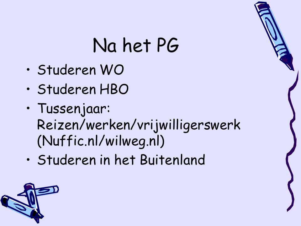 Na het PG Studeren WO Studeren HBO Tussenjaar: Reizen/werken/vrijwilligerswerk (Nuffic.nl/wilweg.nl) Studeren in het Buitenland
