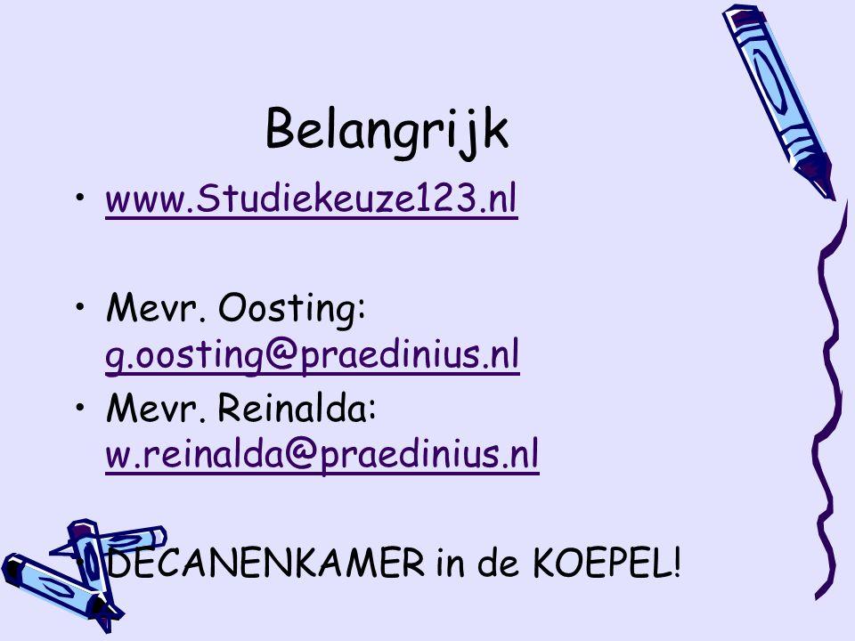 Belangrijk www.Studiekeuze123.nl Mevr.