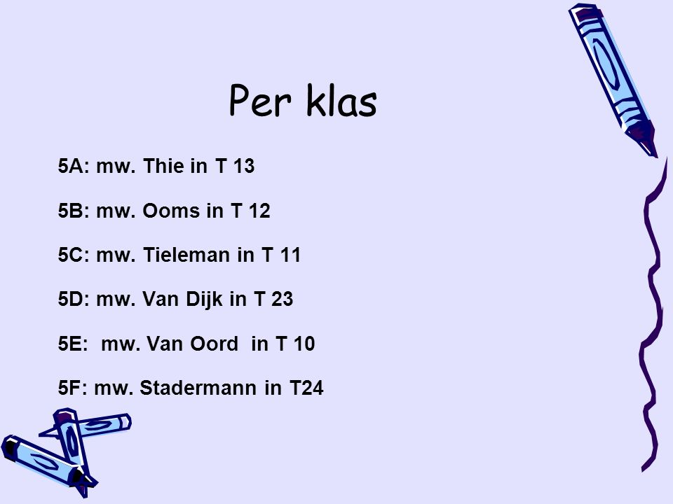 Per klas 5A: mw.Thie in T 13 5B: mw. Ooms in T 12 5C: mw.
