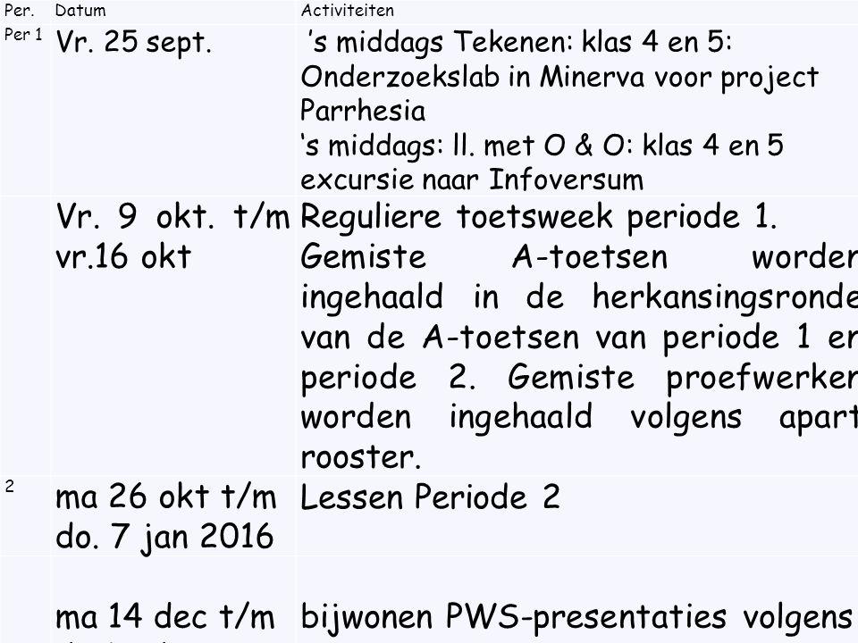 Per.DatumActiviteiten Per 1 Vr. 25 sept.