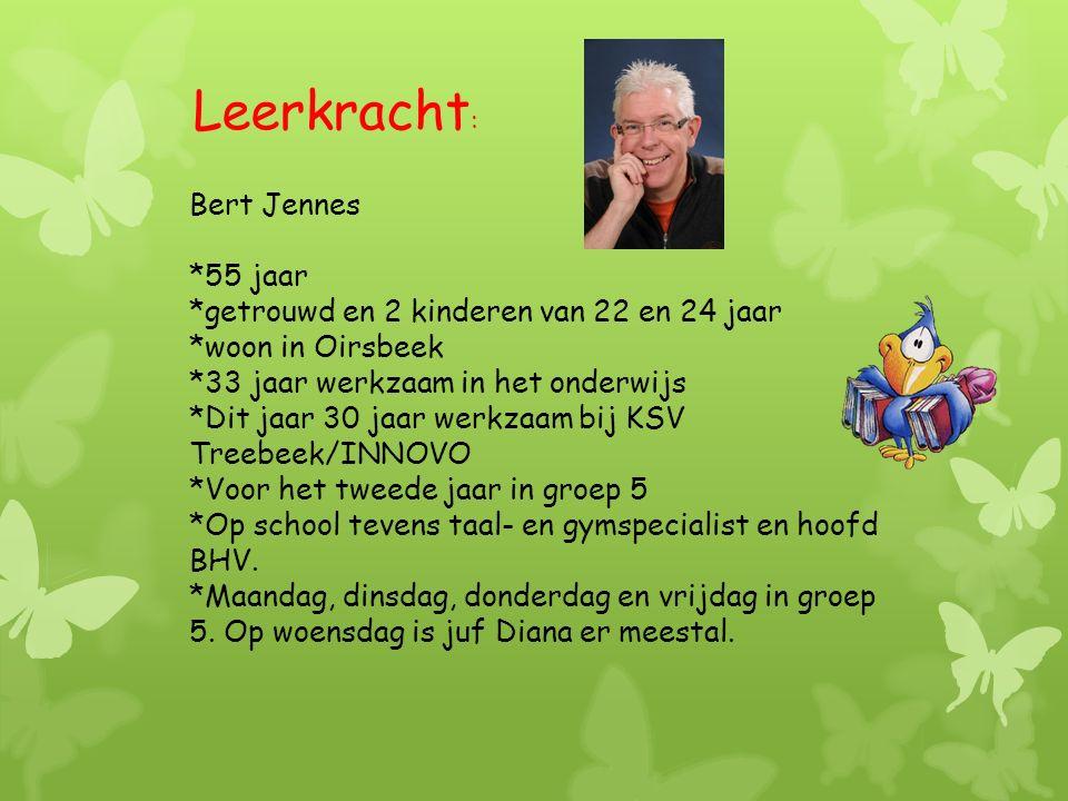 Bert Jennes *55 jaar *getrouwd en 2 kinderen van 22 en 24 jaar *woon in Oirsbeek *33 jaar werkzaam in het onderwijs *Dit jaar 30 jaar werkzaam bij KSV Treebeek/INNOVO *Voor het tweede jaar in groep 5 *Op school tevens taal- en gymspecialist en hoofd BHV.