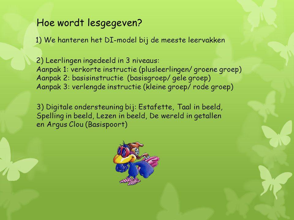 1) We hanteren het DI-model bij de meeste leervakken 3) Digitale ondersteuning bij: Estafette, Taal in beeld, Spelling in beeld, Lezen in beeld, De wereld in getallen en Argus Clou (Basispoort) Hoe wordt lesgegeven.