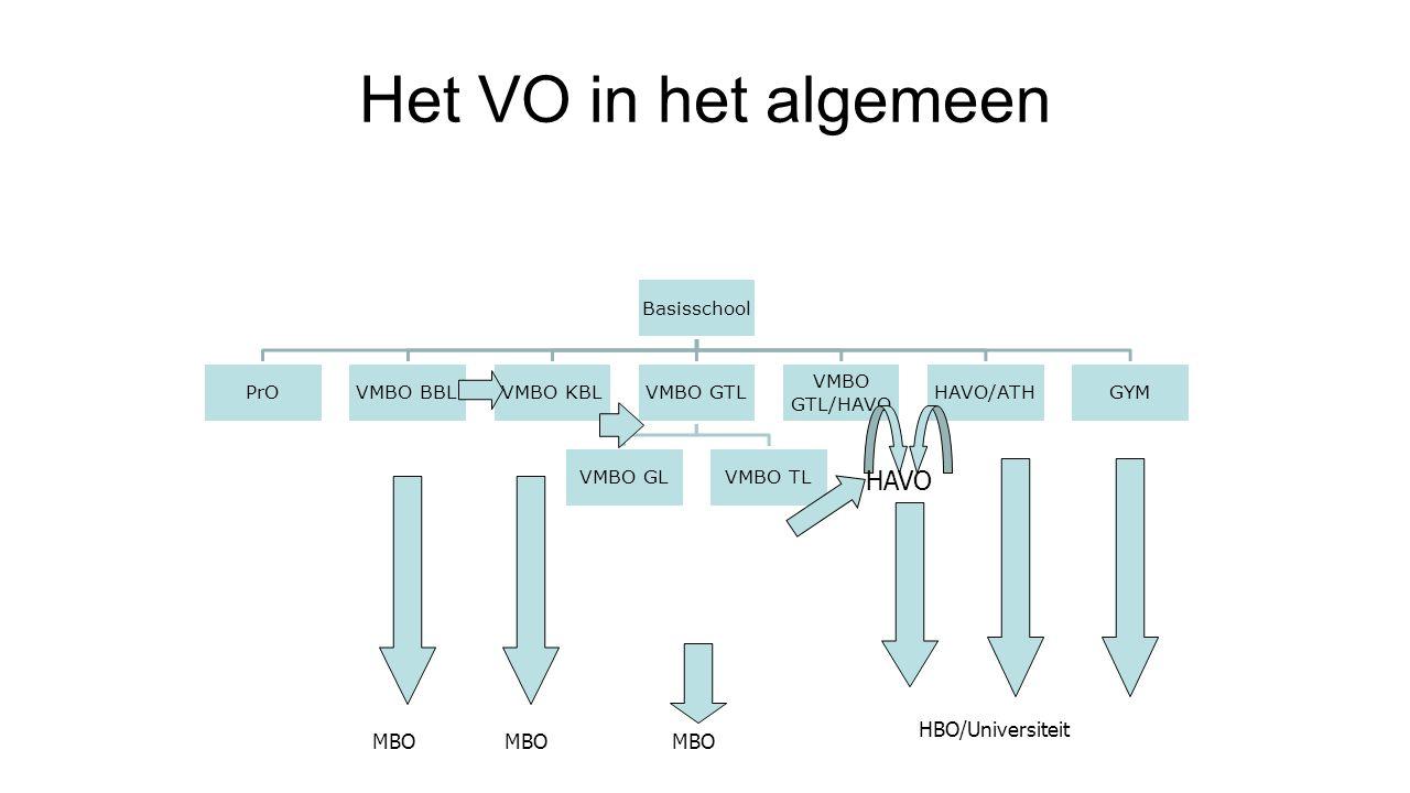 Het VO in het algemeen HAVO MBO HBO/Universiteit MBO