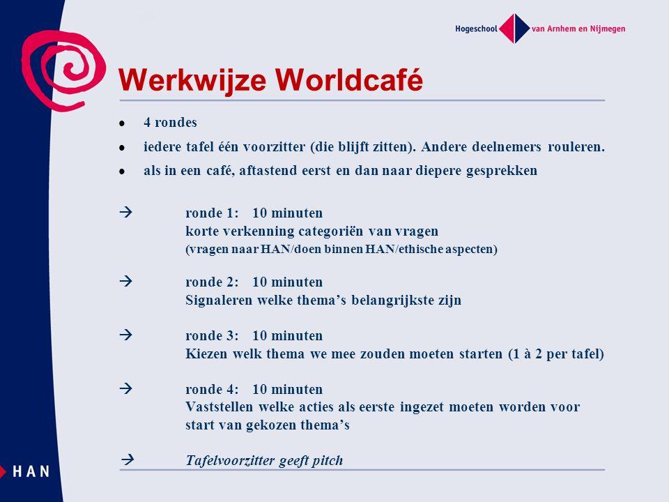 Werkwijze Worldcafé 4 rondes iedere tafel één voorzitter (die blijft zitten).
