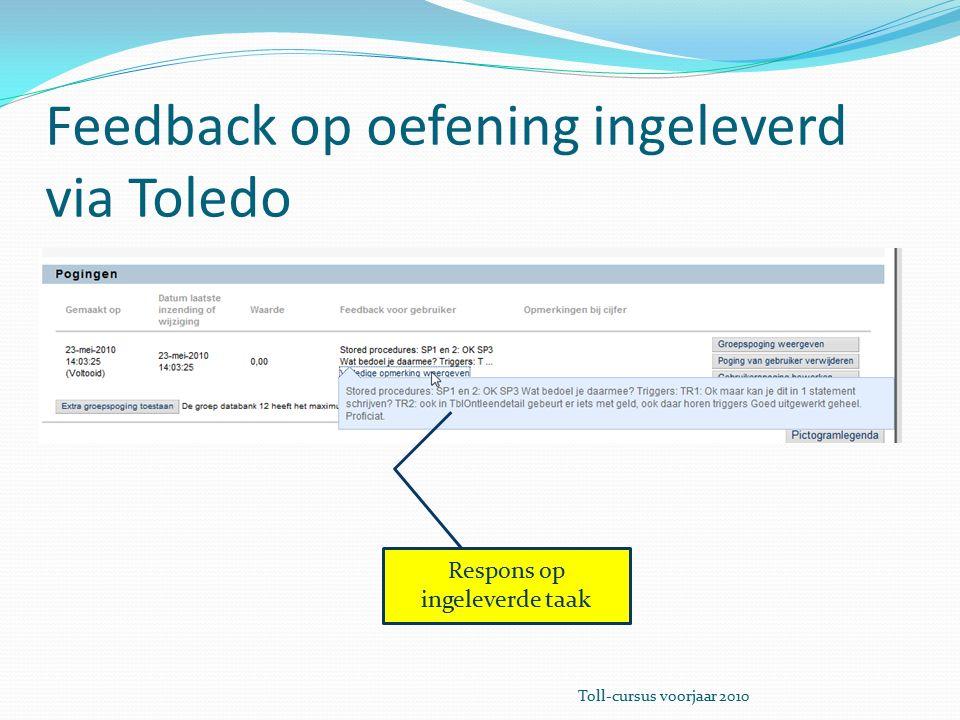 Feedback op oefening ingeleverd via Toledo Respons op ingeleverde taak Toll-cursus voorjaar 2010