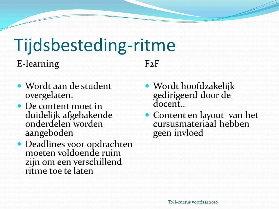 Tijdsbesteding-ritme E-learning Wordt aan de student overgelaten.