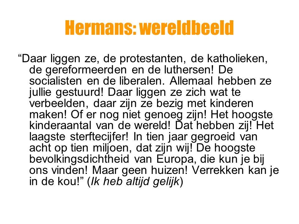 Hermans: wereldbeeld De werkelijkheid is chaotisch en onkenbaar geloof, idealen,….