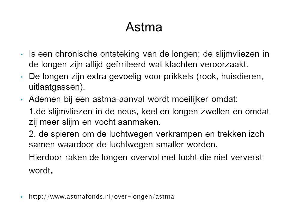 Astma Is een chronische ontsteking van de longen; de slijmvliezen in de longen zijn altijd geïrriteerd wat klachten veroorzaakt. De longen zijn extra