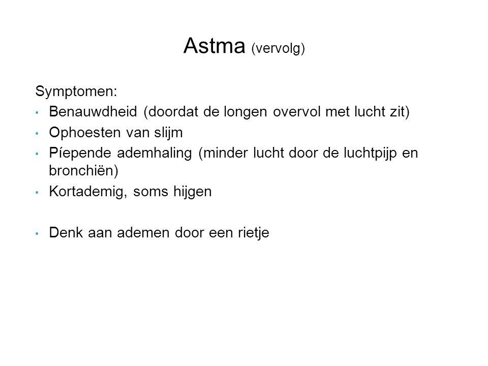 Astma (vervolg) Symptomen: Benauwdheid (doordat de longen overvol met lucht zit) Ophoesten van slijm Píepende ademhaling (minder lucht door de luchtpi