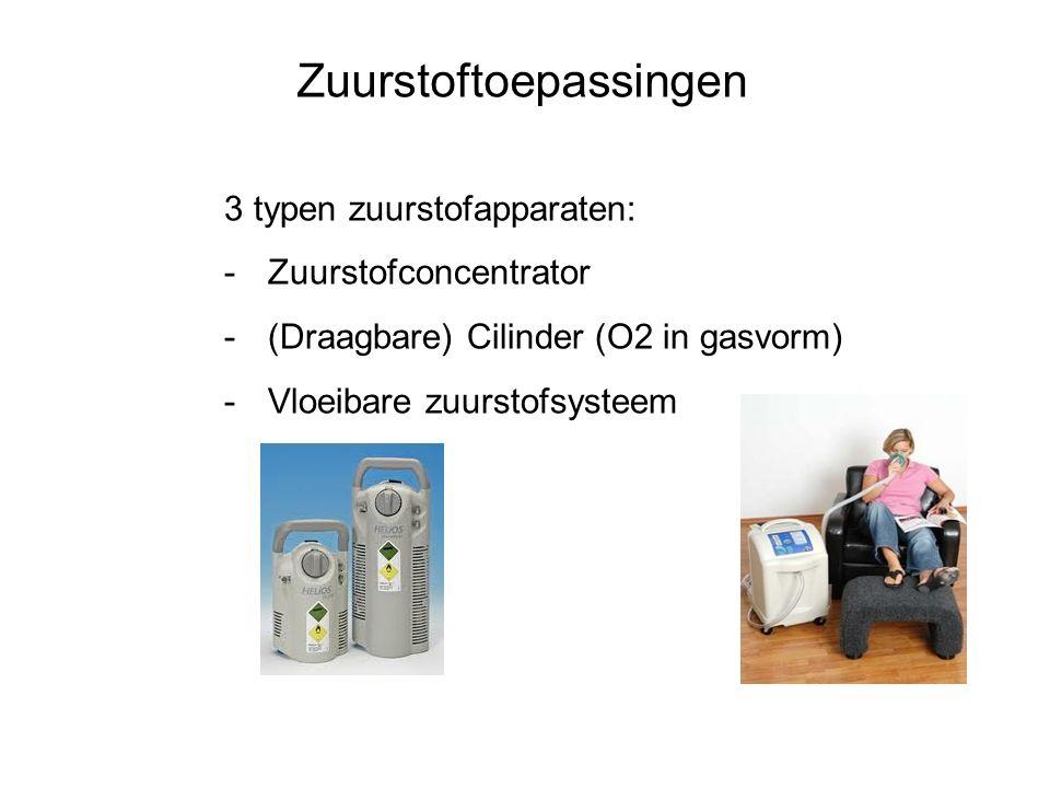 3 typen zuurstofapparaten: -Zuurstofconcentrator -(Draagbare) Cilinder (O2 in gasvorm) -Vloeibare zuurstofsysteem Zuurstoftoepassingen