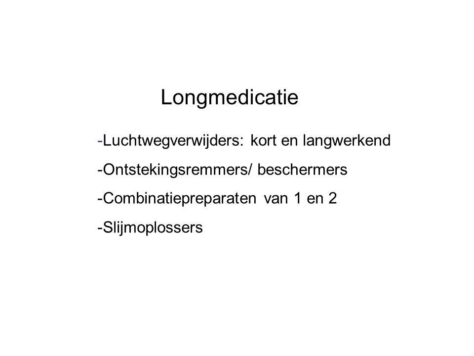 -Luchtwegverwijders: kort en langwerkend -Ontstekingsremmers/ beschermers -Combinatiepreparaten van 1 en 2 -Slijmoplossers Longmedicatie