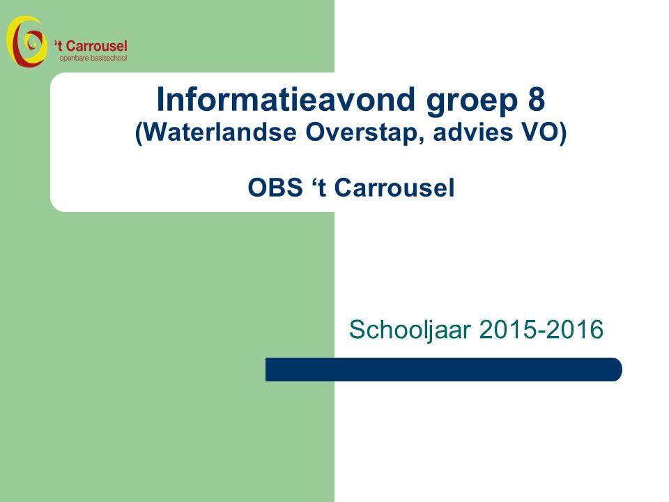Informatieavond groep 8 (Waterlandse Overstap, advies VO) OBS 't Carrousel Schooljaar 2015-2016