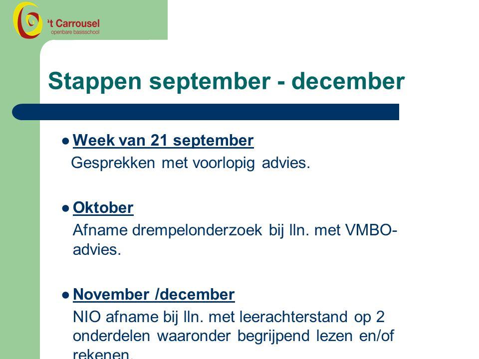 Stappen september - december ●Week van 21 september Gesprekken met voorlopig advies.