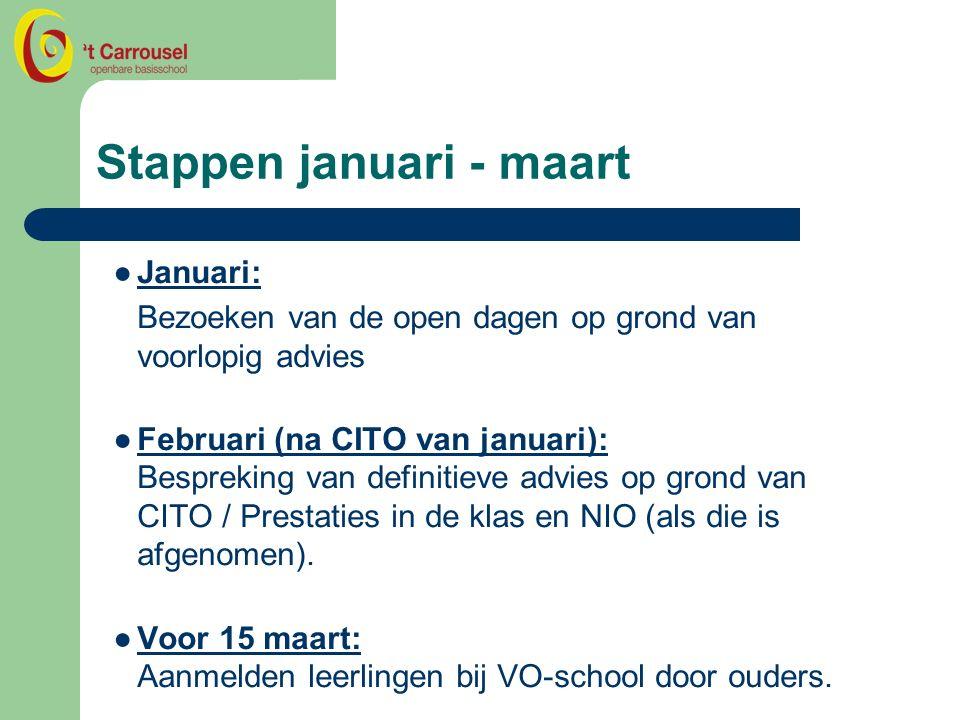 Stappen januari - maart ●Januari: Bezoeken van de open dagen op grond van voorlopig advies ●Februari (na CITO van januari): Bespreking van definitieve advies op grond van CITO / Prestaties in de klas en NIO (als die is afgenomen).