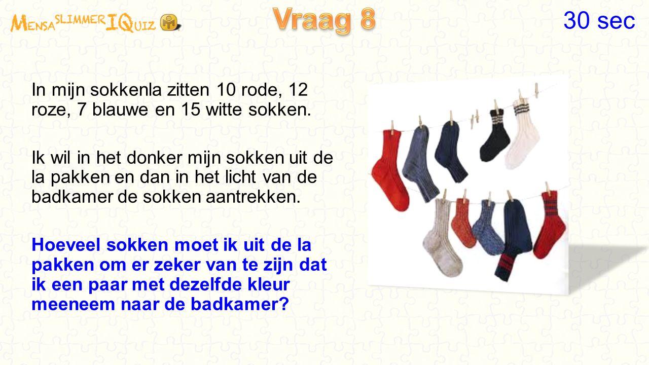 In mijn sokkenla zitten 10 rode, 12 roze, 7 blauwe en 15 witte sokken.