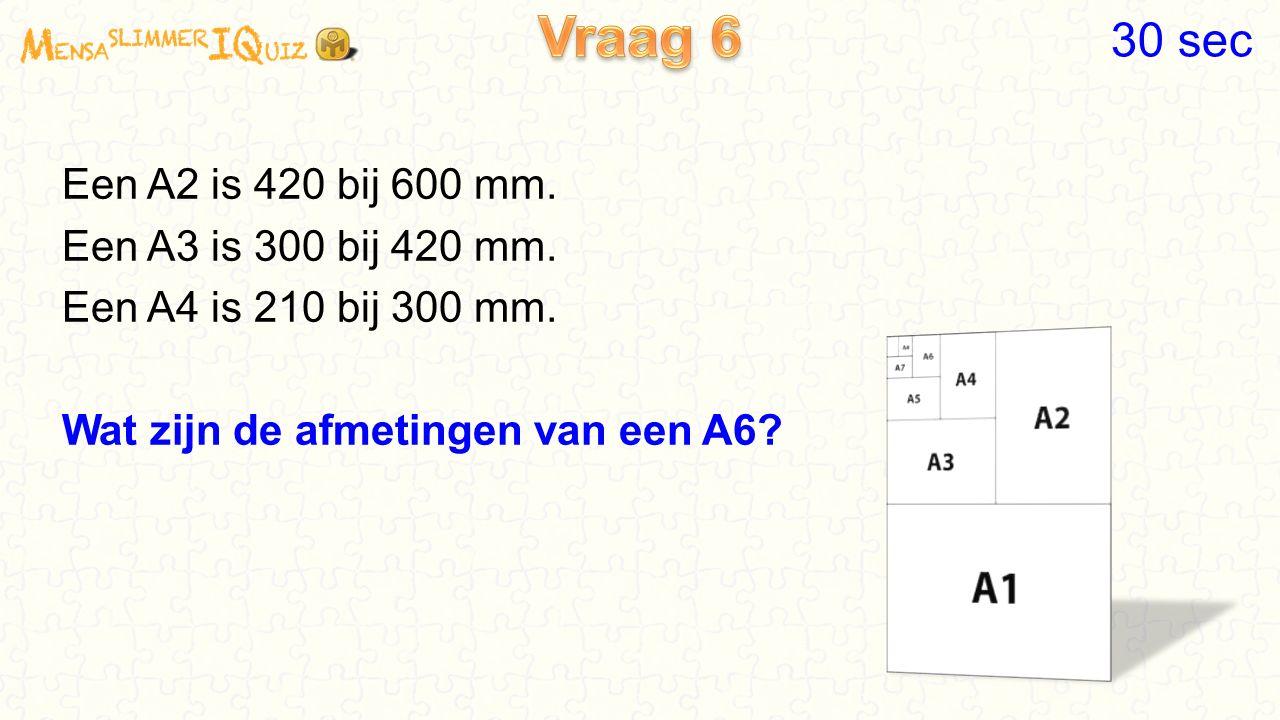 Een A2 is 420 bij 600 mm.Een A3 is 300 bij 420 mm.
