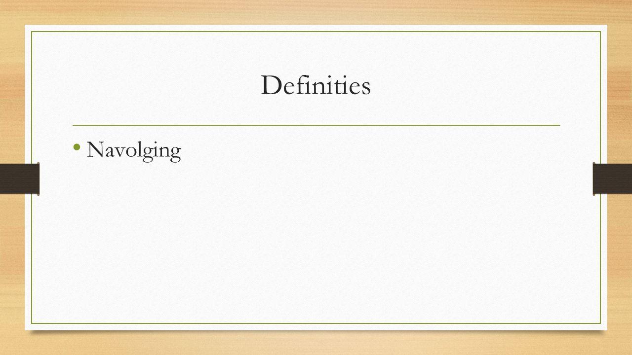 Definities Navolging Mogelijkheid