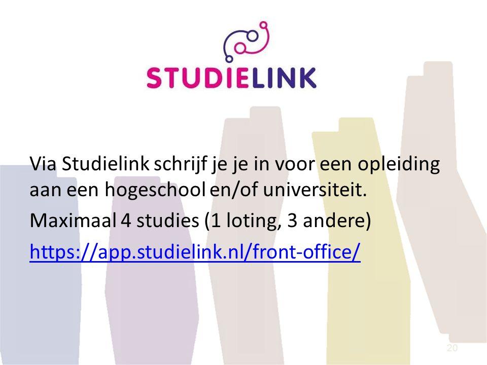 Via Studielink schrijf je je in voor een opleiding aan een hogeschool en/of universiteit. Maximaal 4 studies (1 loting, 3 andere) https://app.studieli