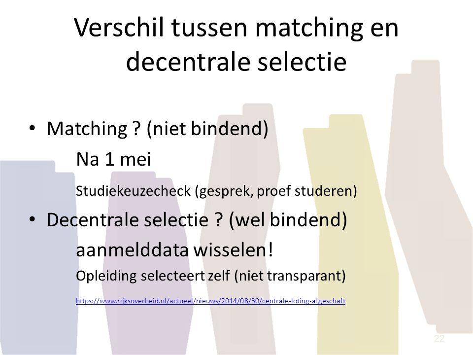 Verschil tussen matching en decentrale selectie Matching ? (niet bindend) Na 1 mei Studiekeuzecheck (gesprek, proef studeren) Decentrale selectie ? (w