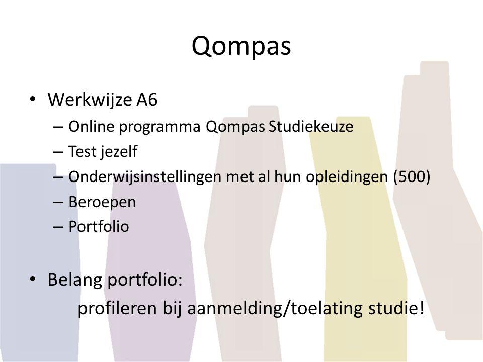 Qompas Werkwijze A6 – Online programma Qompas Studiekeuze – Test jezelf – Onderwijsinstellingen met al hun opleidingen (500) – Beroepen – Portfolio Be