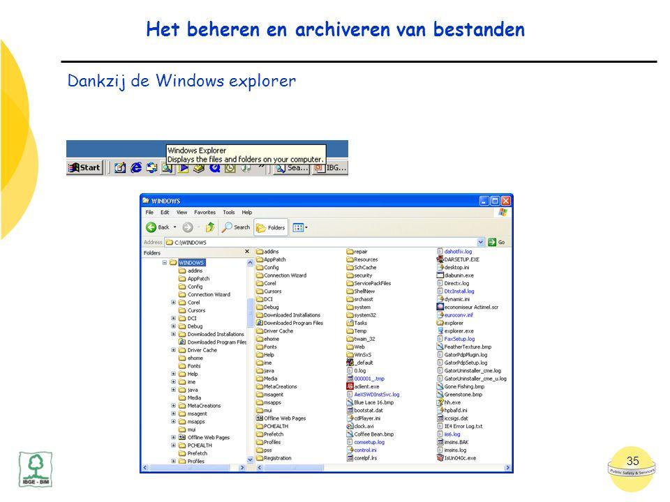 35 Het beheren en archiveren van bestanden Dankzij de Windows explorer