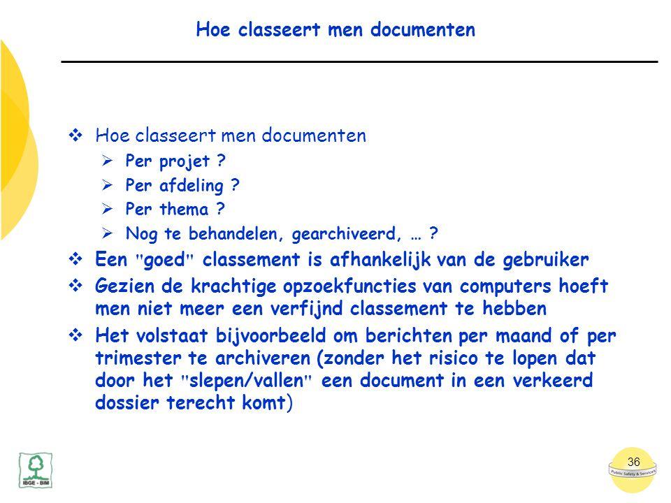 36 Hoe classeert men documenten  Hoe classeert men documenten  Per projet .