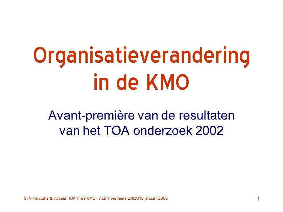 STV-Innovatie & Arbeid: TOA in de KMO - Avant-première UNIZO 15 januari 2003 1 Organisatieverandering in de KMO Avant-première van de resultaten van het TOA onderzoek 2002