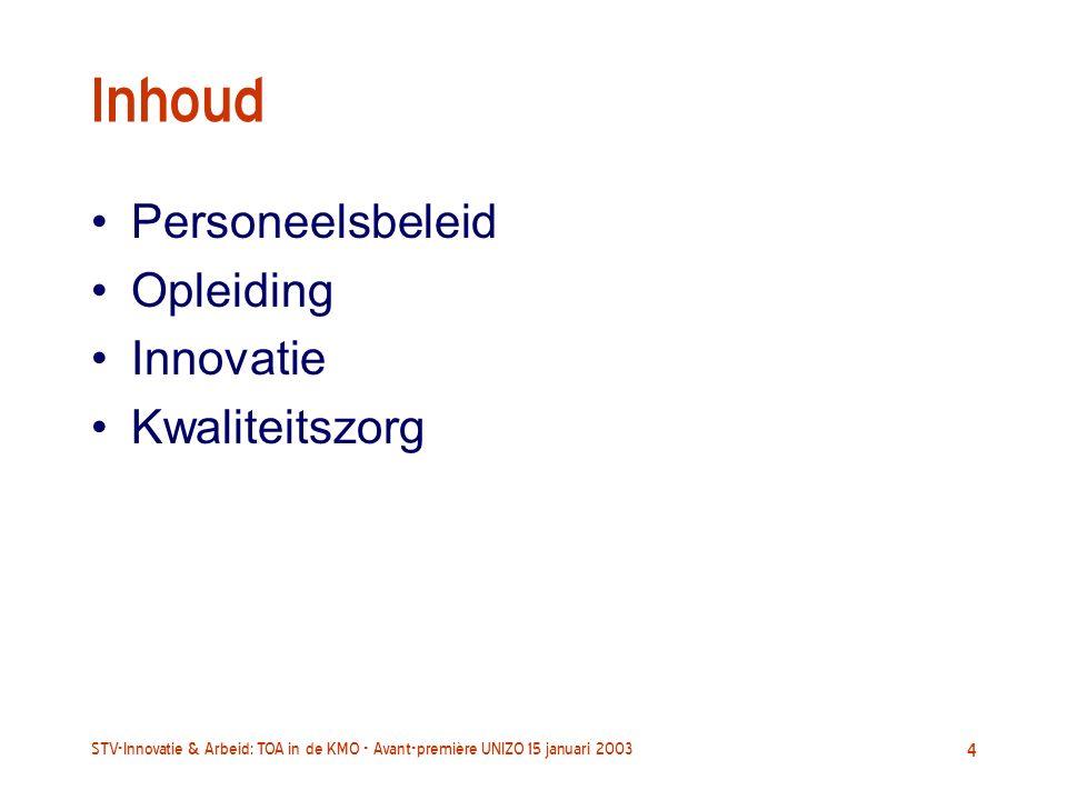 STV-Innovatie & Arbeid: TOA in de KMO - Avant-première UNIZO 15 januari 2003 4 Inhoud Personeelsbeleid Opleiding Innovatie Kwaliteitszorg