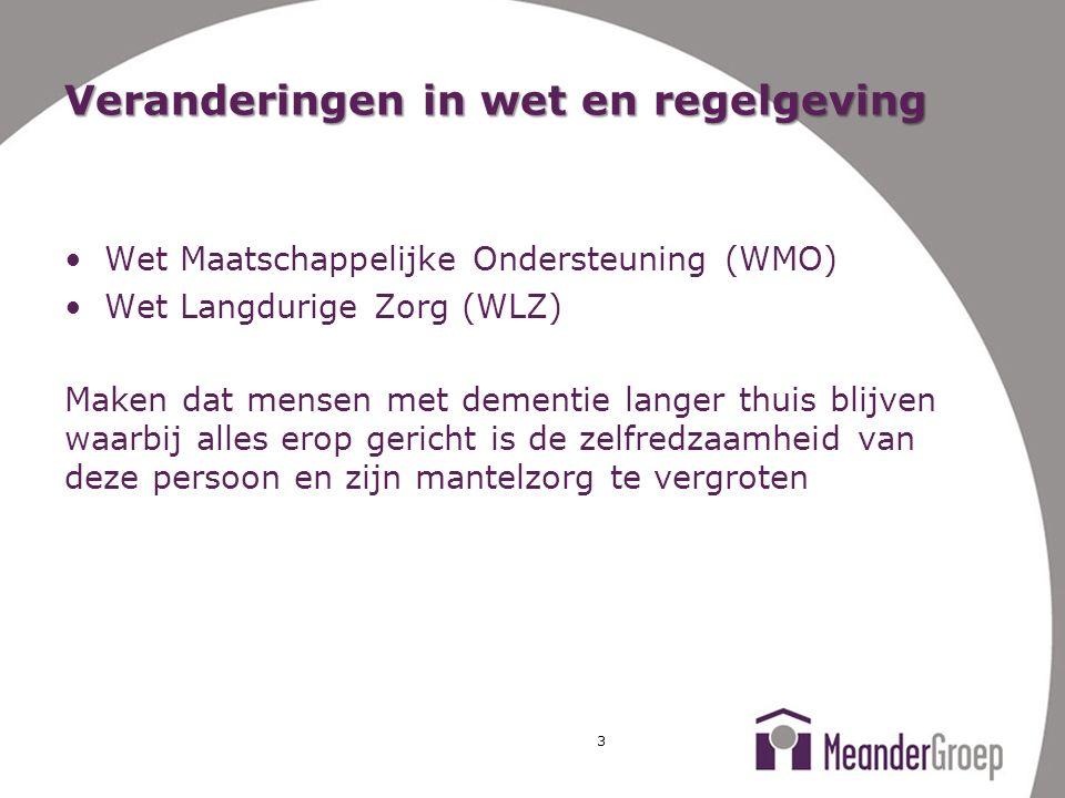 Veranderingen in wet en regelgeving Wet Maatschappelijke Ondersteuning (WMO) Wet Langdurige Zorg (WLZ) Maken dat mensen met dementie langer thuis blij