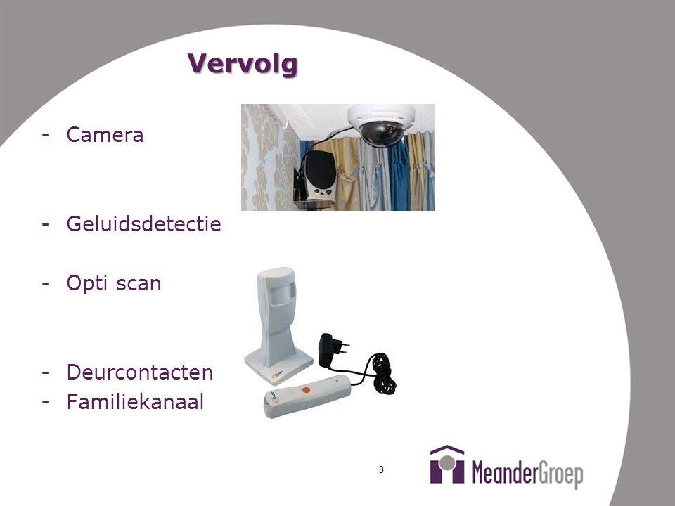 Vervolg -Camera -Geluidsdetectie -Opti scan -Deurcontacten -Familiekanaal 8