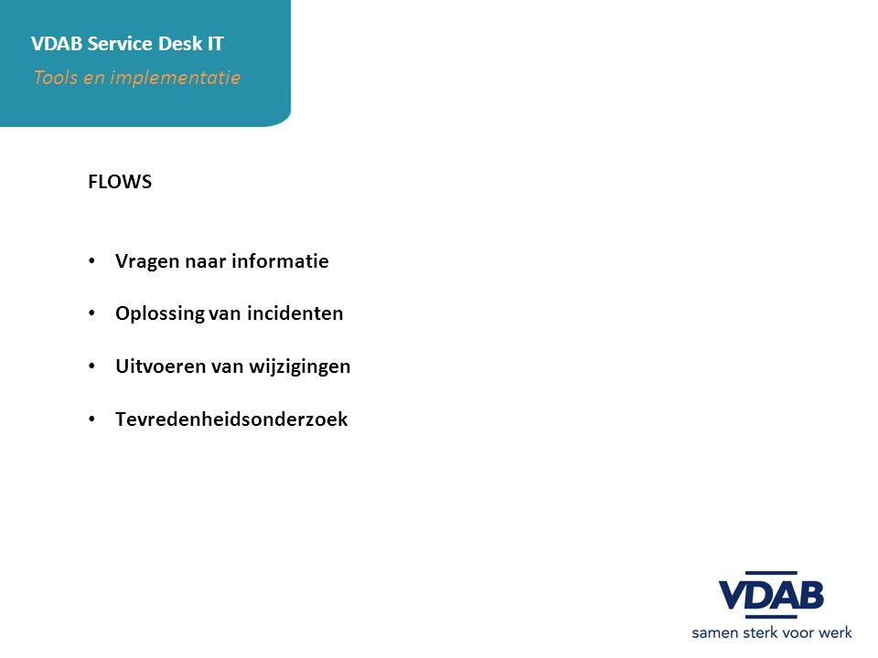 VDAB Service Desk IT Tools en implementatie FLOWS Vragen naar informatie Oplossing van incidenten Uitvoeren van wijzigingen Tevredenheidsonderzoek