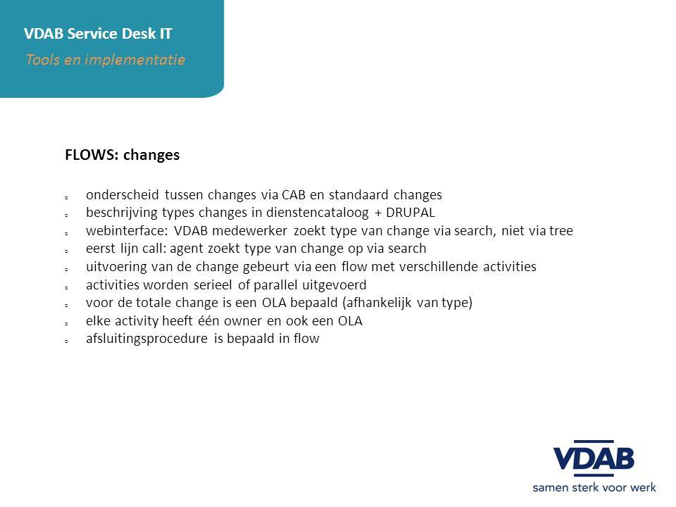 VDAB Service Desk IT Tools en implementatie FLOWS: changes  onderscheid tussen changes via CAB en standaard changes  beschrijving types changes in d