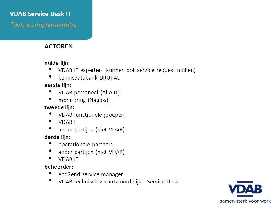 VDAB Service Desk IT Tools en implementatie ACTOREN nulde lijn: VDAB IT experten (kunnen ook service request maken) kennisdatabank DRUPAL eerste lijn: