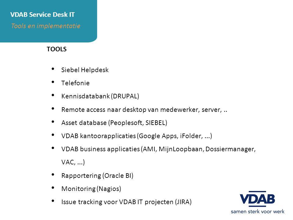 VDAB Service Desk IT Tools en implementatie TOOLS Siebel Helpdesk Telefonie Kennisdatabank (DRUPAL) Remote access naar desktop van medewerker, server,