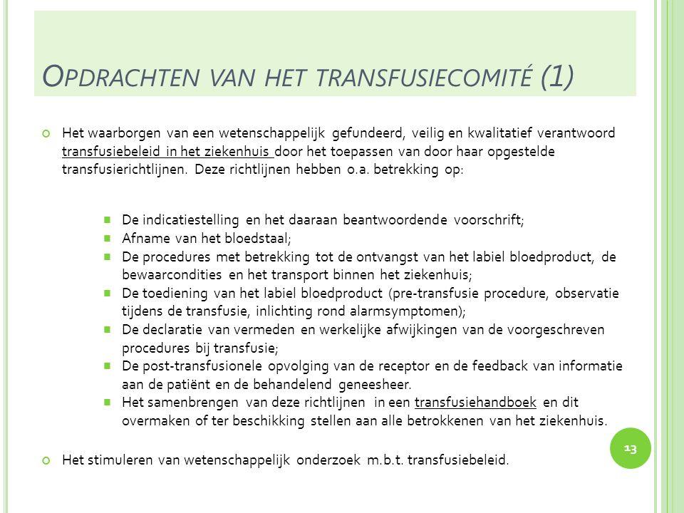 O PDRACHTEN VAN HET TRANSFUSIECOMITÉ (2) Het organiseren van een kwaliteitscontrole en, meer in het bijzonder, van een systeem van hemovigilantie.