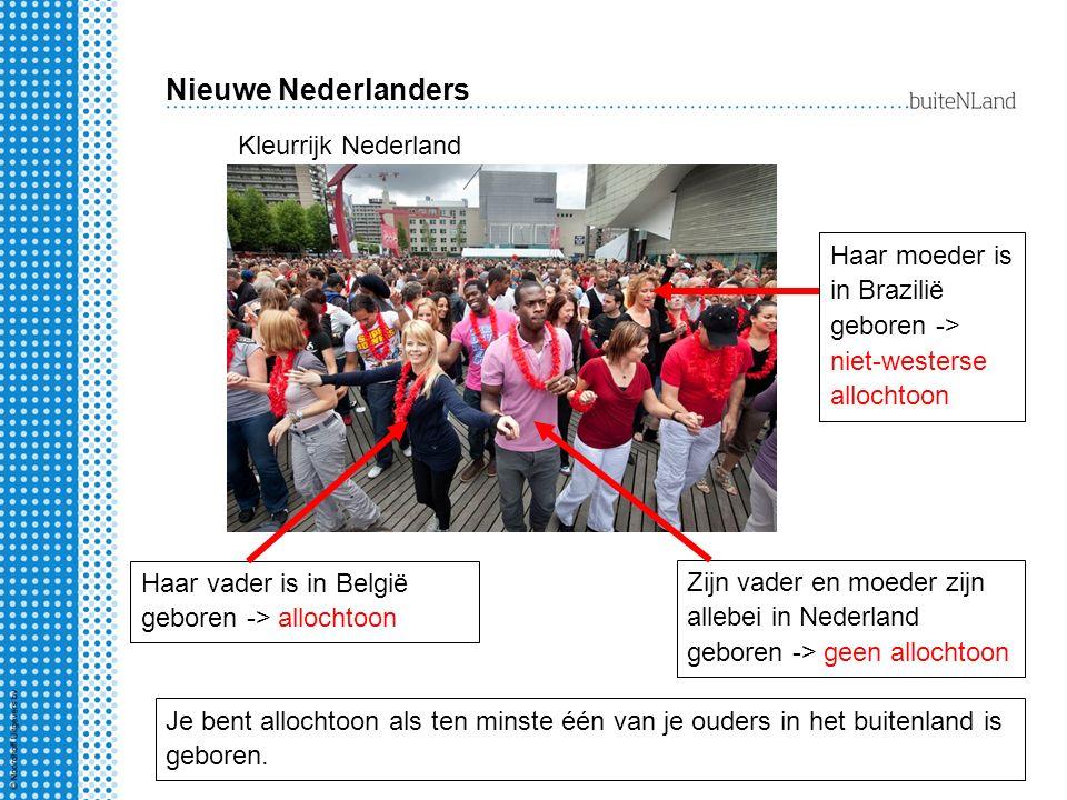 Nieuwe Nederlanders Kleurrijk Nederland Zijn vader en moeder zijn allebei in Nederland geboren -> geen allochtoon Haar vader is in België geboren -> allochtoon Haar moeder is in Brazilië geboren -> niet-westerse allochtoon Je bent allochtoon als ten minste één van je ouders in het buitenland is geboren.