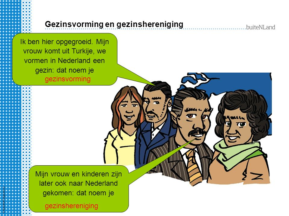 Gezinsvorming en gezinshereniging Mijn vrouw en kinderen zijn later ook naar Nederland gekomen: dat noem je Ik ben hier opgegroeid.