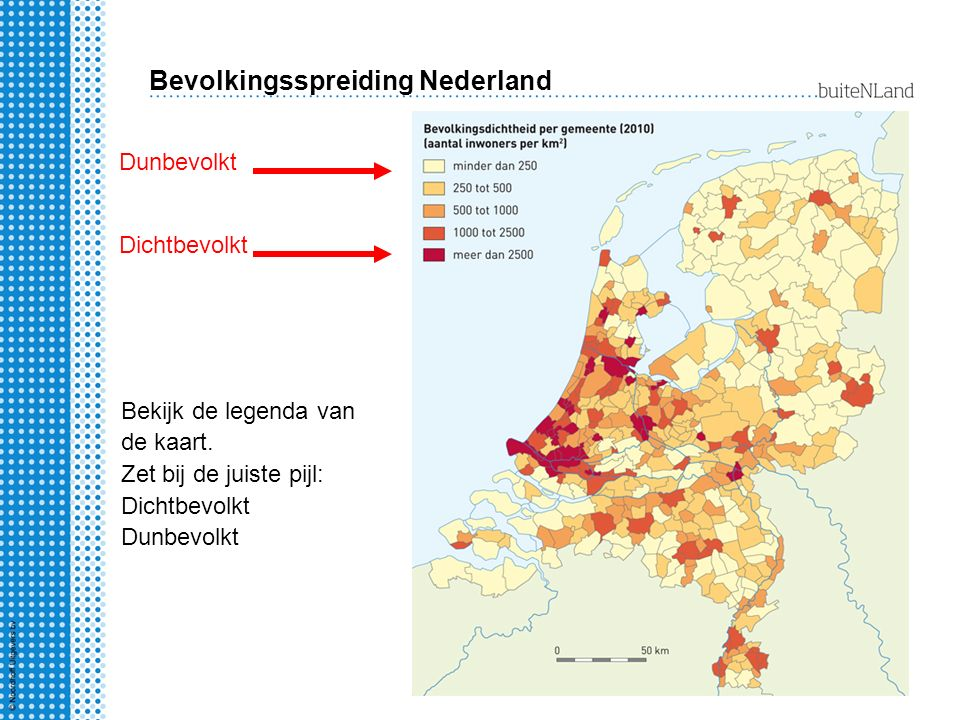 Bevolkingsspreiding Nederland Bekijk de legenda van de kaart.