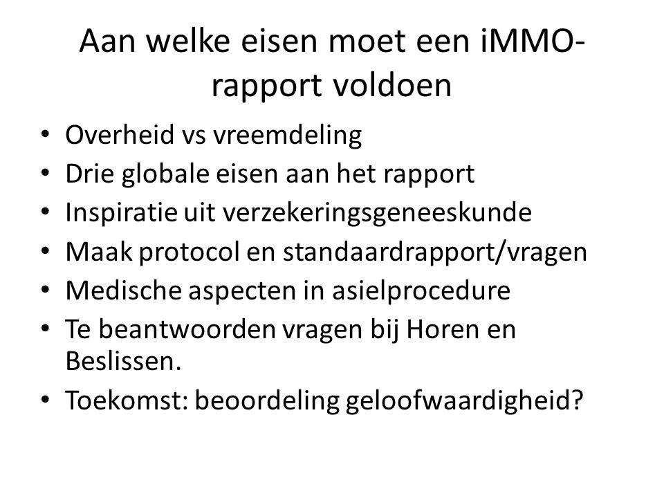 Aan welke eisen moet een iMMO- rapport voldoen Overheid vs vreemdeling Drie globale eisen aan het rapport Inspiratie uit verzekeringsgeneeskunde Maak