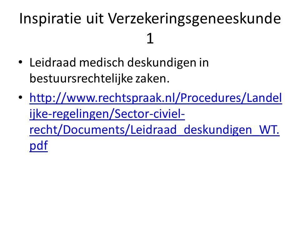 Inspiratie uit Verzekeringsgeneeskunde 1 Leidraad medisch deskundigen in bestuursrechtelijke zaken. http://www.rechtspraak.nl/Procedures/Landel ijke-r