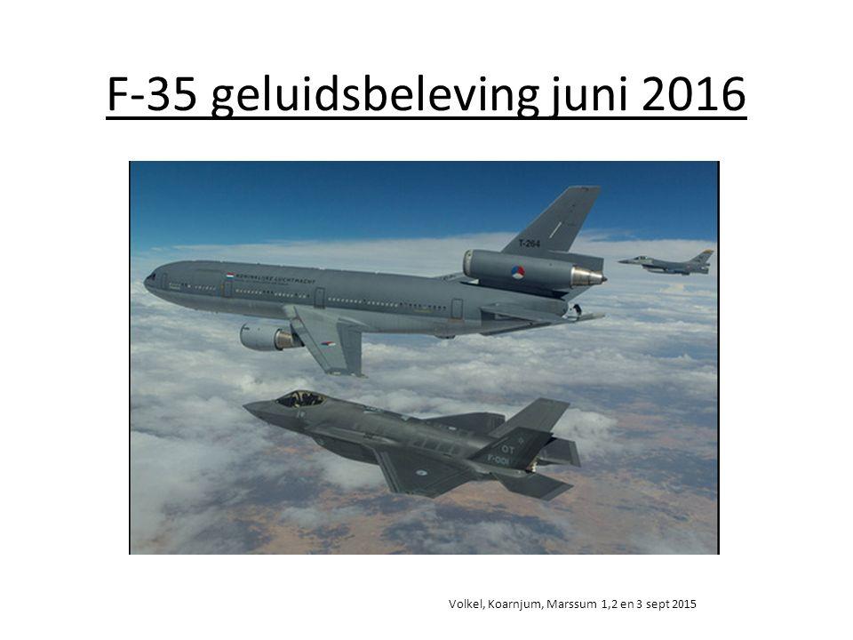 F-35 geluidsbeleving juni 2016 Volkel, Koarnjum, Marssum 1,2 en 3 sept 2015