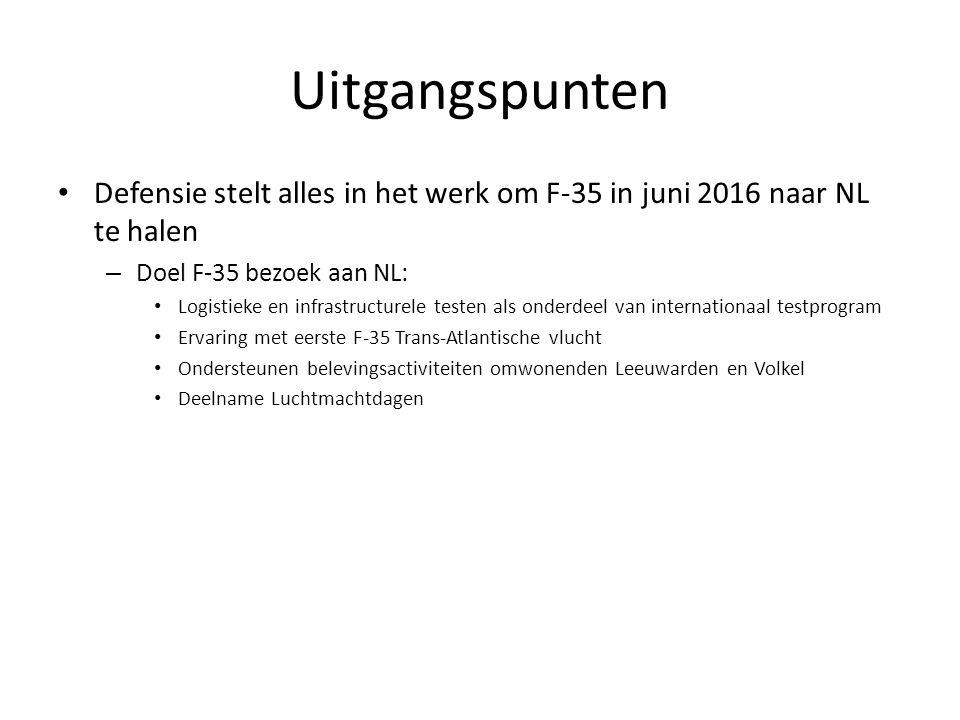 Uitgangspunten Defensie stelt alles in het werk om F-35 in juni 2016 naar NL te halen – Doel F-35 bezoek aan NL: Logistieke en infrastructurele testen