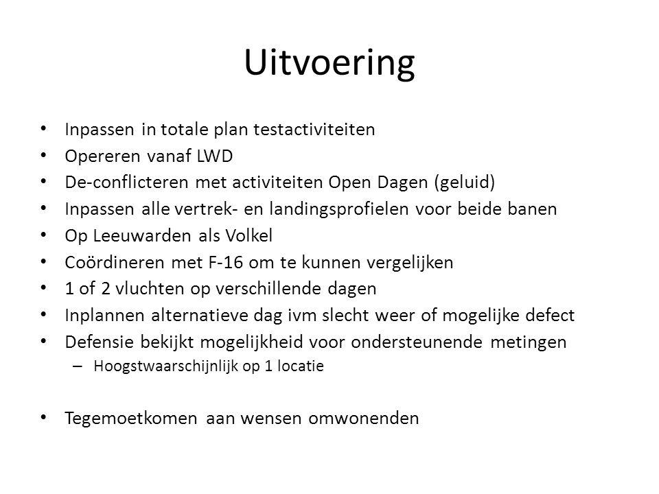 Uitvoering Inpassen in totale plan testactiviteiten Opereren vanaf LWD De-conflicteren met activiteiten Open Dagen (geluid) Inpassen alle vertrek- en