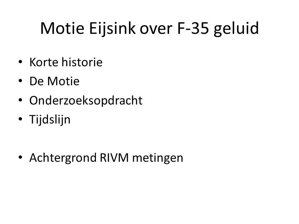 Motie Eijsink over F-35 geluid Korte historie De Motie Onderzoeksopdracht Tijdslijn Achtergrond RIVM metingen