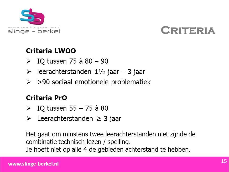 Criteria Criteria LWOO  IQ tussen 75 à 80 – 90  leerachterstanden 1½ jaar – 3 jaar  >90 sociaal emotionele problematiek Criteria PrO  IQ tussen 55