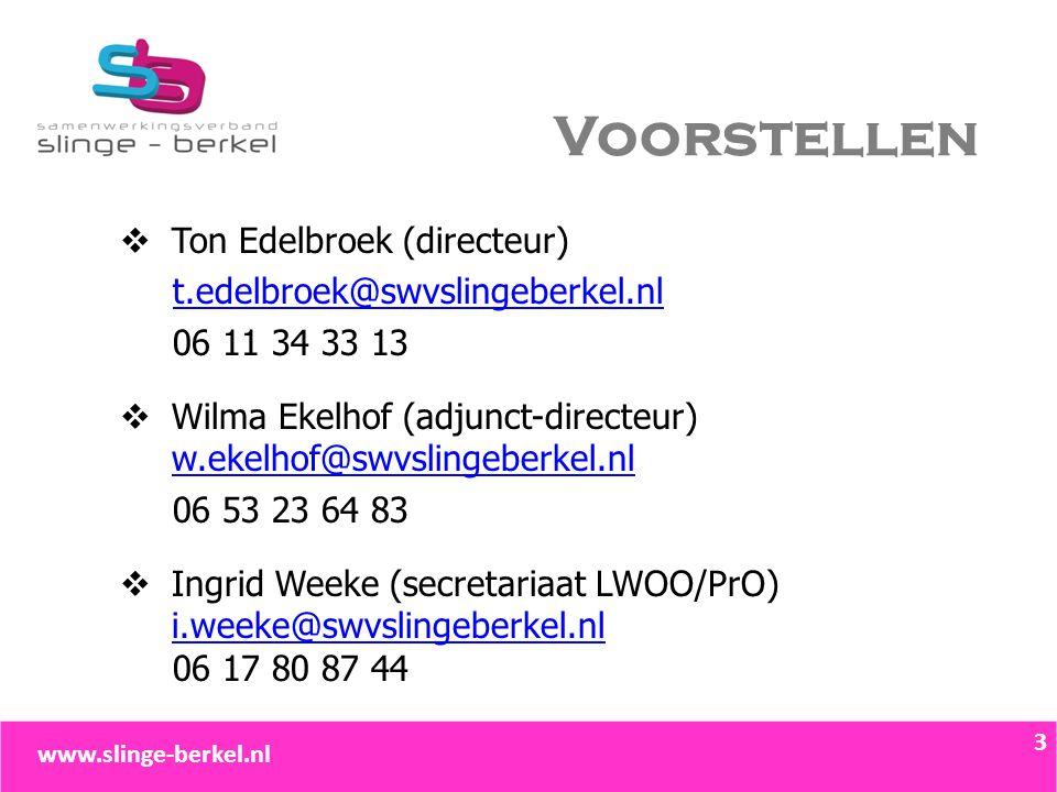 Voorstellen  Ton Edelbroek (directeur) t.edelbroek@swvslingeberkel.nl 06 11 34 33 13  Wilma Ekelhof (adjunct-directeur) w.ekelhof@swvslingeberkel.nl