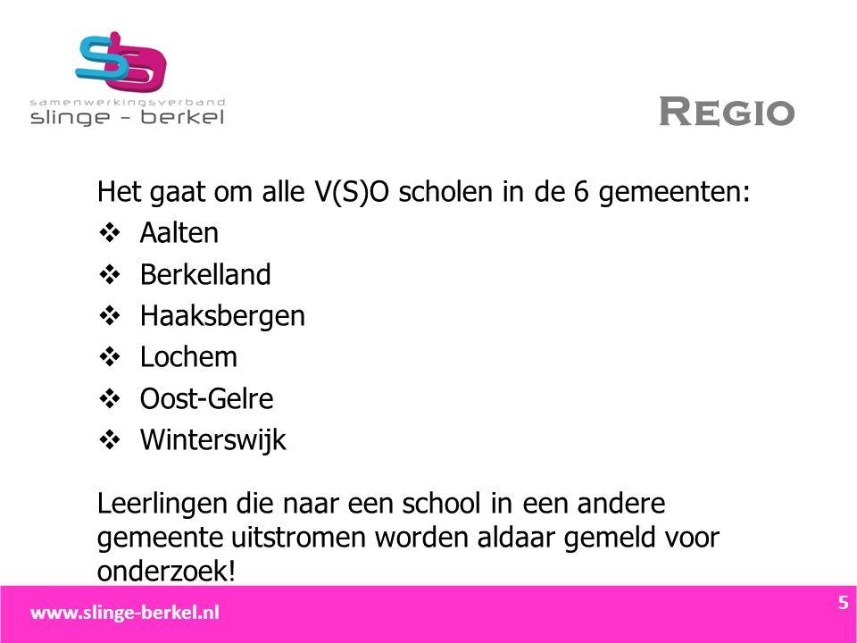 Regio Het gaat om alle V(S)O scholen in de 6 gemeenten:  Aalten  Berkelland  Haaksbergen  Lochem  Oost-Gelre  Winterswijk Leerlingen die naar ee