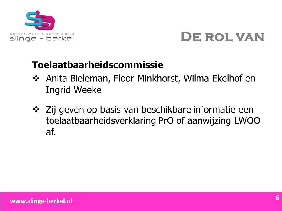 De rol van Toelaatbaarheidscommissie  Anita Bieleman, Floor Minkhorst, Wilma Ekelhof en Ingrid Weeke  Zij geven op basis van beschikbare informatie