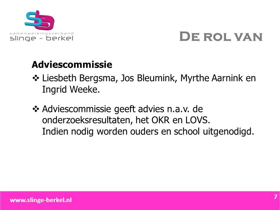 De rol van Adviescommissie  Liesbeth Bergsma, Jos Bleumink, Myrthe Aarnink en Ingrid Weeke.  Adviescommissie geeft advies n.a.v. de onderzoeksresult