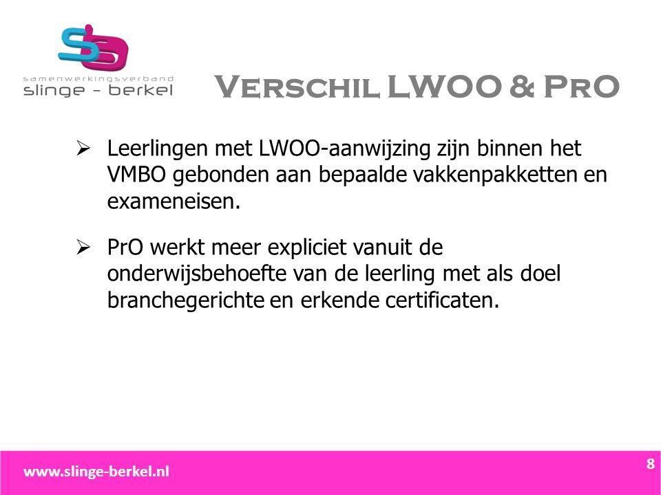 Verschil LWOO & PrO  Leerlingen met LWOO-aanwijzing zijn binnen het VMBO gebonden aan bepaalde vakkenpakketten en exameneisen.  PrO werkt meer expli